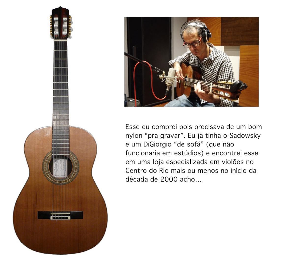 """Esse eu comprei pois precisava de um bom nylon """"pra gravar"""". Eu já tinha o Sadowsky e um DiGiorgio """"de sofá"""" (que não funcionaria em estúdios) e encontrei esse em uma loja especializada em violões no Centro do Rio mais ou menos no início da década de 2000 acho..."""